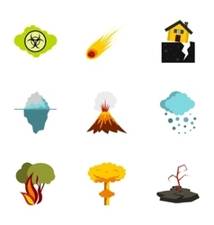 Disaster icons set flat style vector