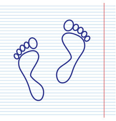 Foot prints sign navy line icon on vector