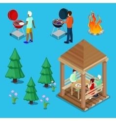 Isometric Family Grill BBQ People Cooking Meat vector image