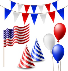 July 4 celebrating item set vector image
