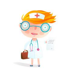 Kids nurse or doctor children profession game vector