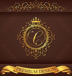 Letter c luxury logo template flourishes vector