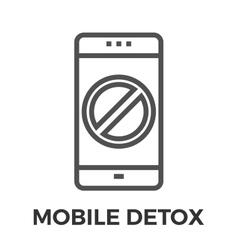 Mobile detox thin line icon vector image