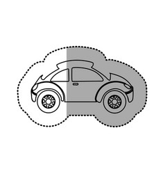Monochrome contour sticker with sport car vector