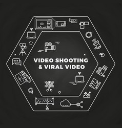 Movie film-making line art icons concept vector