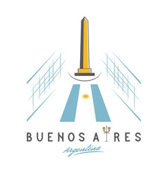 National historic monument the obelisk of buenos vector