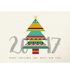 New year 2017 colorful abstract pine tree design vector