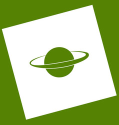 Planet in space sign white icon obtained vector