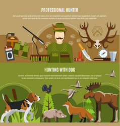 Professional hunter banners set vector