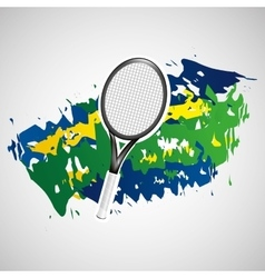 racket tennis olympic games brazilian flag colors vector image vector image