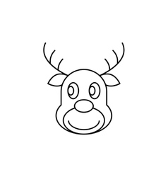 Reindeer christmas thin line icon vector