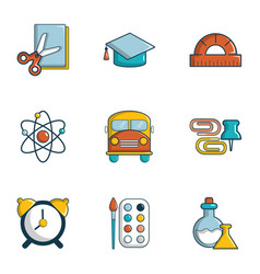 School equipment icons set flat style vector