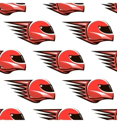 Seamless pattern of red racing helmet with speed vector image