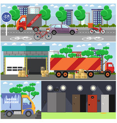 set of courier service posters banners in vector image