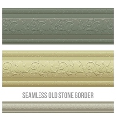 Set of seamless borders stone marble vector image vector image