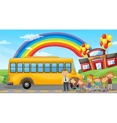 Students and school bus at school vector image vector image