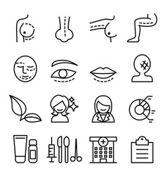 surgery icon set in thin line style vector image