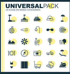Tourism icons set collection of suitcase checking vector