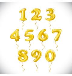 yellow number 1 2 3 4 5 6 7 8 9 0 metallic vector image vector image