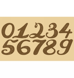 Numbers set in hand drawn calligraphy style vector