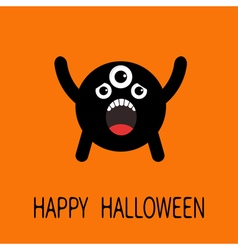 Happy halloween greeting card black screaming vector