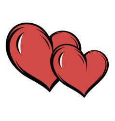 two hearts icon cartoon vector image