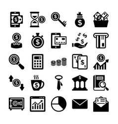 Banking and finance line icons 7 vector