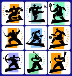 Sports man icons vector