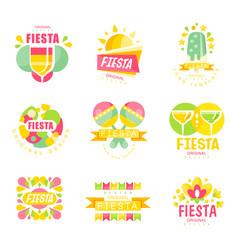 Fiesta logo original design set labels for a vector