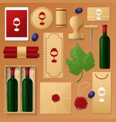 Wine shop identity template mockup vector