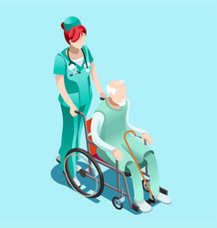 Female nurse and patient in wheelchair isometric vector