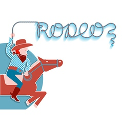 Cowboy with lasso rodeo background vector