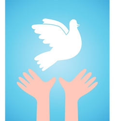 White dove and child hands vector