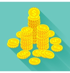 Isometric golden coins vector image