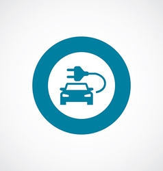 Electro car icon bold blue circle border vector