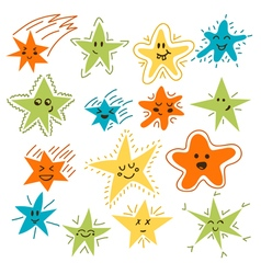 Set of hand drawn funny stars Cartoon comic style vector image
