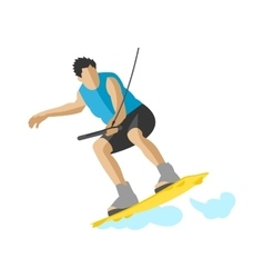 Man wakeboarding in action summer fun hobby vector