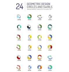 Geometric abstract circles and swirls icon set vector