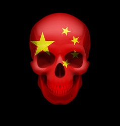Chinese flag skull vector image