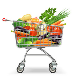 Supermarket Trolley with Vegetables vector image