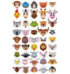 big animal head cartoon collection vector image