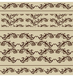 2 Vintage Borders and 2 Seamless Patterns vector image
