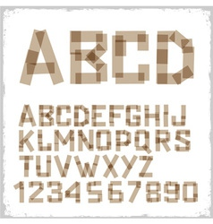 Alphabet letters and numbers made from adhesive vector image