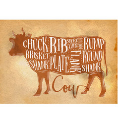 Beef cutting scheme craft vector