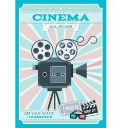 Cinema retro style poster vector