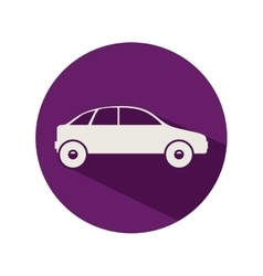 Circular shape with vehicle silhouette vector