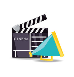 Clapperboard with megaphone to short film scene vector