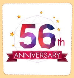 Colorful polygonal anniversary logo 2 056 vector