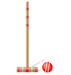 Croquet mallet and ball vector