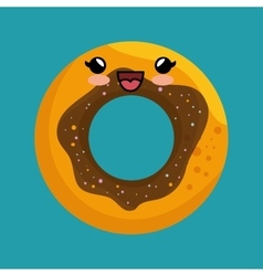 cute kawaii donut sweet desert icon vector image